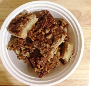 pecan pie bars in a bowl
